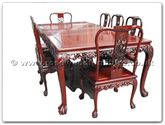 "Rosewood Furniture - ffgts96tab -  Sq dining table grape design tiger legs with 2+6 chairs - 96"" x 46"" x 30"""