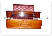 "Rosewood Furniture - ffhfb012 -  Bed-Leather cover and carved mandarin duck with drawers King - 72"" x 78"" x 0"""