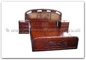 "Rosewood Furniture - ffhfb018 -  Bed (Bamboo  and  peony design) with drawers King - 72"" x 78"" x 0"""