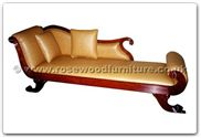 "Chinese Furniture - ffhfb033 -  Rosewood Chaise longue with  leather covering - 88.6"" x 26"" x 32"""