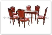 "Rosewood Furniture - ffhfd017 -  Oval Dining Table French Design Table with 6 chairs - 56"" x 38"" x 30"""