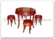 "Chinese Furniture - ffhfd036 -  Rosewood Round Table with Bamboo Design with 4 stools - 36"" x 36"" x 30"""