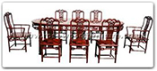 "Rosewood Furniture - ffhfd037 -  Oval ru-yi Style Dining Table with  8 chairs - 80"" x 44"" x 30"""