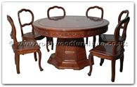 "Rosewood Furniture - ffhfd059cl -  Rosewood Extendable Round Dining Table  with  8 chairs   (Closed Size, include 32 inch lazy Susan) - 52"" x 52"" x 30"""
