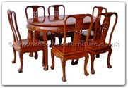 "Rosewood Furniture - ffhfd066 -  Rosewood Oval Dining Table Dragon Design Tiger Legs with  6 chairs - 56"" x 38"" x 30"""
