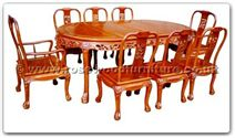 "Rosewood Furniture - ffhfd076 -  Rosewood Oval Dining Table Dragon Design Tiger Legs w ith  8 chairs - 80"" x 44"" x 30"""
