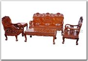 "Chinese Furniture - ffhfl018 -  Rosewood Sofa Set (5Pcsith Set)-Running Horse Design Excluding Cushion Couch - 72"" x 23"" x 41"""