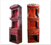 "Oriental Furniture - ffl26alt -  Altar cabinet lotus design - 26"" x 16"" x 84"""