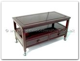 "Oriental Furniture Range - ORffldccof -  Coffee table with  2 drawers  and  shelf with  casters   - 38"" x 18"" x 18"""
