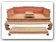 "Rosewood Furniture - fflhbfc -  Luohan bed full carved with separate stool on top & foot stand - 78"" x 42.5"" x 43"""