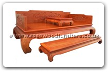 "Rosewood Furniture - fflhbpb -  Luohan bed peony and bird carved with separate stool on top and foot stand - 83"" x 42.5"" x 33.5"""