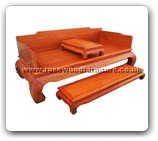 "Oriental Furniture - fflhbpd -  Luohan bed plain design with separate stool on top & foot stand - 83"" x 39"" x 33.5"""