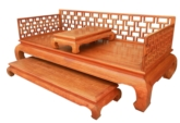 "Chinese Furniture - fflhbsk -  luohan bed open key design w/small table & foot stand - 83"" x 36"" x 33.5"""