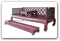"Rosewood Furniture - fflhbst -  Luohan bed with separate stool on top & foot stand - 81"" x 33.5"" x 31"""