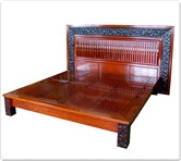 "Oriental Furniture - fflzbed -  Super king size platform bed ganoderma design - 72"" x 78"" x 0"""