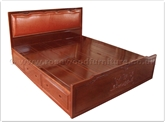 "Oriental Furniture - ffmdbed -  King size bed leather and carved mandarin duck with drawers - "" x "" x """