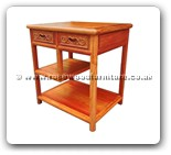 "Chinese Furniture - ffmendf -  Ming style end table flower carved w/2 drawer & shelf - 24"" x 18.5"" x 25.5"""