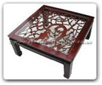 "Oriental Furniture - ffobcof -  Bevel glass top coffee table with open f and b carved - 42"" x 42"" x 16"""