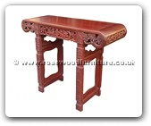 "Oriental Furniture - ffoehall -  Oval ends hall table with carved - 43.5"" x 16.5"" x 34.5"""