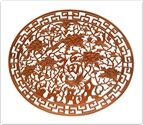 "Chinese Furniture - ffpfscreen -  Oval screen - open peony - bird carved - 59"" x 50"" x 1"""