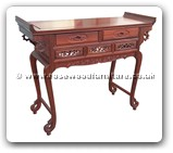 "Chinese Furniture - ffqahallf -  Queen ann legs hall table flower design with 2 drawers - 43.5"" x 16.5"" x 34.5"""