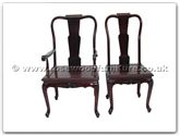 "Chinese Furniture - ffqcchairarmchair -  Queen Ann Legs Dining Arm Chair With Carved Excluding Cushion - 22"" x 19"" x 40"""