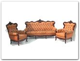 "Rosewood Furniture - ffqglsofa3seater -  Queen Ann legs leather sofa 3 seater - 76"" x 31"" x 42"""