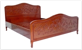 "Oriental Furniture - ffqqccbed -  Queen Size Queen Ann Legs Curved Top Bed With Carved - 60"" x 78"" x 0"""