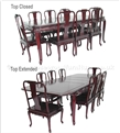 "Rosewood Furniture - ffqrcdin -  Sliding Top Queen Ann Legs Round Corner Dining Table With Carving With 2+6 Chairs - 115"" x 46"" x 30"""