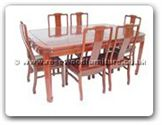 "Rosewood Furniture - ffr71din -  Round corner sliding top dining with 6 side chairs plain design - 71"" x 44"" x 30"""