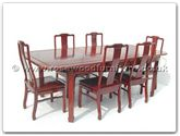 "Rosewood Furniture - ffr99din -  Sliding top round corner dining table longlife design with 6 side chairs   - 99"" x 44"" x 30"""