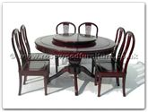 "Rosewood Furniture - ffradining -  Pedestal leg round corner dining  table with 8 american style side chairs  and  30 inch round lazy susan - 60"" x 60"" x 30"""