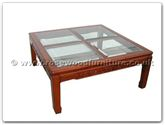 "Chinese Furniture - ffrb4bcof -  4 section bevel glass top coffee table solid f and b design - 42"" x 42"" x 18"""