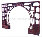"Rosewood Furniture - ffrdivfk -  Room divider cabinet flower carved - key carved corner - set of 2 - 127"" x 17"" x 89"""