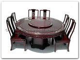 "Rosewood Furniture - ffrdm60din -  Round corner dining table dragon design with m.o.p. and 30 inchlazy susan  and  8 chairs - 60"" x 60"" x 30"""