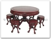 "Rosewood Furniture - ffrdt48tab -  Round pedestal leg table with 6 stool dragon design tiger legs - 48"" x 48"" x 30"""