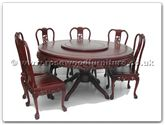 "Rosewood Furniture - ffrdt60tab -  Round pedestal leg table dragon design with 8 side chairs dragon design tiger legs, with 30 inchlazy susan - 60"" x 60"" x 30"""