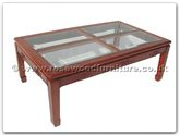 "Oriental Furniture - ffrgkcof -  4 section bevel glass top coffee table key design - 50"" x 30"" x 18"""