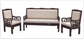 "Oriental Furniture Range - ORffrhblsf -  High back 3 seaters sofa - flower carved and fixed cushion - 72"" x 24"" x 37.5"""