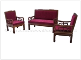 "Chinese Furniture - ffrhbsf -  High back 2 seaters sofa plain design - fixed cushion - 50"" x 24"" x 37.5"""