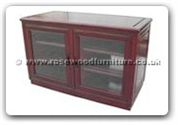 "Chinese Furniture - ffrtvcab -  Stereo cabinet with 2 glass doors and casters - 42"" x 20"" x 26"""