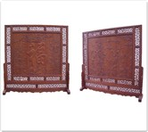 "Rosewood Furniture - ffscdofb -  Double-face screen stand w/f and b and blessing carving - 86"" x 17"" x 93"""