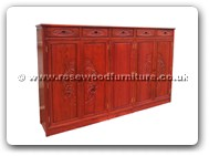 "Chinese Furniture - ffshocb -  Shoes cabinet flower and bird carved with 5 drawers and 5 doors - 76"" x 15.5"" x 49.5"""