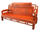 "Chinese Furniture - ffsofa3boo -  3 seats sofa w/bamboo carved - 78"" x 24.5"" x 43"""